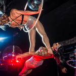 Acrobats suspended above the dancefloor ensured there was no shortage of sights to see on all levels of the club.
