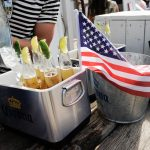 A bucket 'o beers and an American flag.