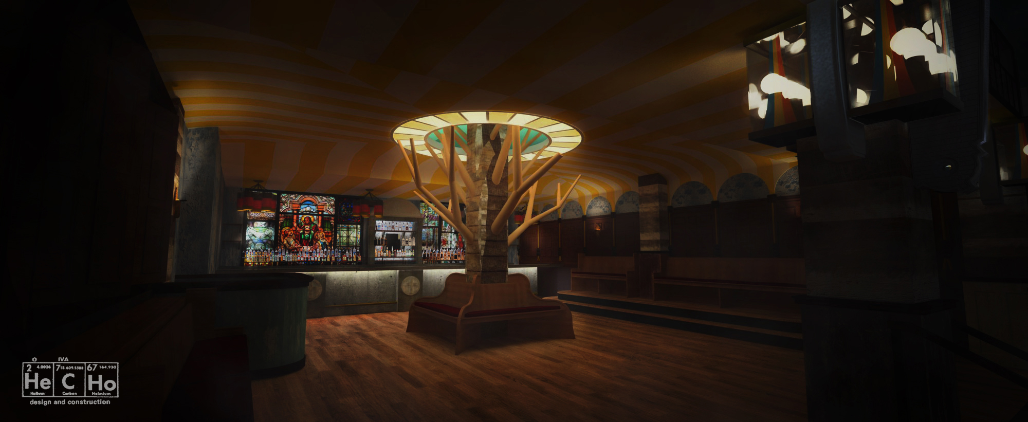 """FF Lounge – reclaimed temple benches form the seating, while stained glass provides the backing to the bar"""
