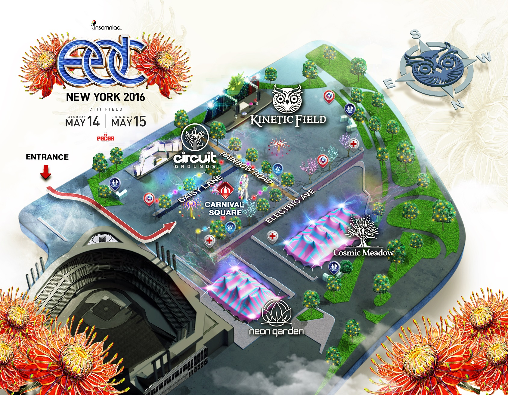 Electric Daisy Carnival New York Heads To New York For - Edc las vegas map 2016