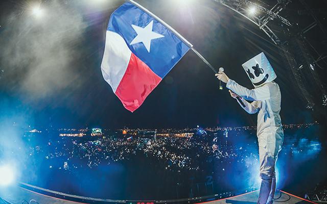 T for Texas: Marshmello flies the flag. Rukes.com