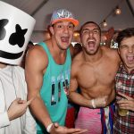 Marshmello hangs with New England Patriots tight end Rob Gronkowski, Mojo Rawley, and Martin Garrix.  | Photo by Gustavo Caballero/Getty Images for SiriusXM