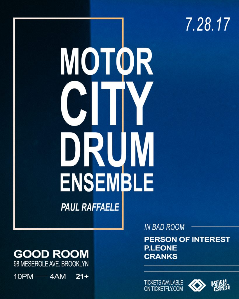 Purchase tickets to Motor City Drum Ensemble at Good Room